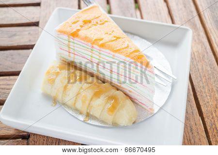 Banana Caramel Crepe Cake On The Plate