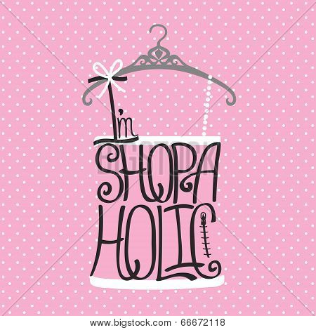Silhouette Of Woman Shirt  From Words Shopaholic.polka Dot Background