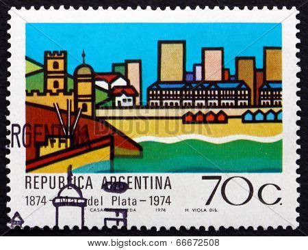 Postage Stamp Argentina 1974 View Of Mar Del Plata