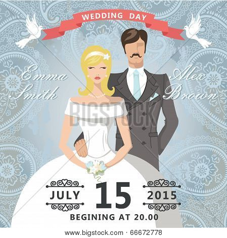Wedding Invitation With Paisley Lace.retro Couple Bride And Groom
