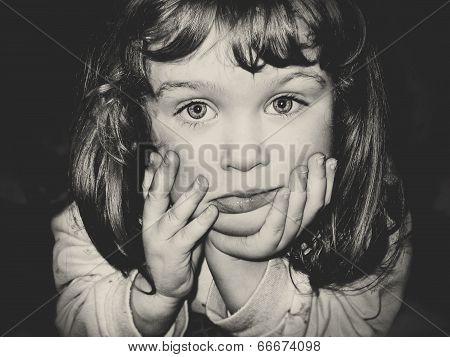 Closeup Portrait Of Little Girl