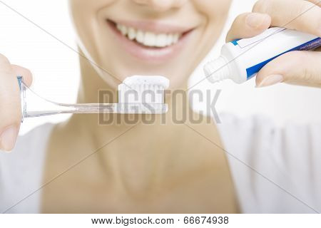 Closeup Girl With Toothbrush Cleaning Teeth At Home, Whiten Toothpaste