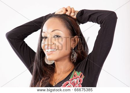 black woman looking at the camera with a smile