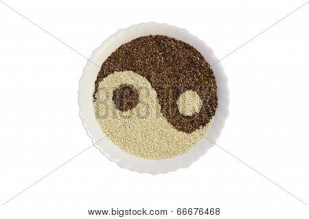 Eastern Cuisine - Sesame Seeds In Yin Yang Shape Plate