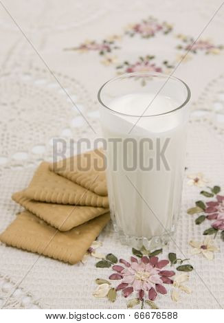Glass Of Buttermilk And Cookies