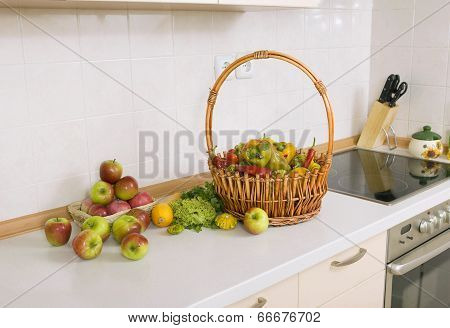 Lot Of Vegetables, Fruits And Herbs