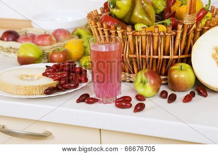 Vegetarian Cuisine: Cornelian Cherry Compote And Lot Of Fruit