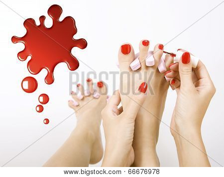 Pedicure Process - Red Manicure And Pedicure