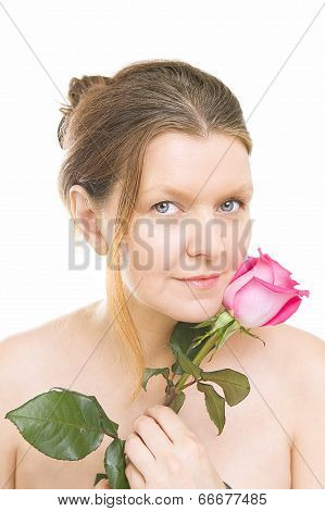 Attractive Mid Adult Woman With A Pink Rose, White Background