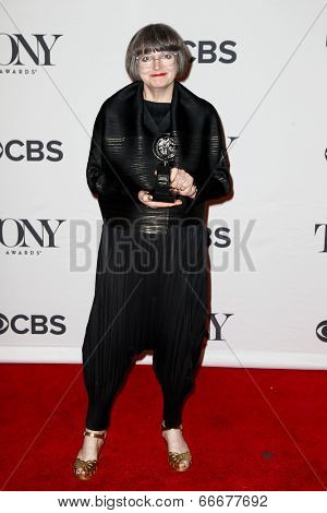 NEW YORK-JUNE 8: Costume designer Jenny Tiramani poses in the press room at the American Theatre Wing's 68th Annual Tony Awards at Radio City Music Hall on June 8, 2014 in New York City.