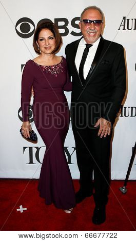 NEW YORK-JUNE 8: Singer Gloria Estefan (L) and husband Emilio Estefan attend American Theatre Wing's 68th Annual Tony Awards at Radio City Music Hall on June 8, 2014 in New York City.