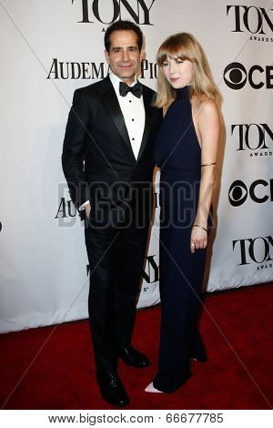 NEW YORK-JUNE 8: Actor Tony Shalhoub and daughter Josie Lynn Adams attend American Theatre Wing's 68th Annual Tony Awards at Radio City Music Hall on June 8, 2014 in New York City.