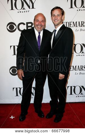 NEW YORK-JUNE 8: Actor Casey Nicolaw (L) and husband Josh Marquette attend American Theatre Wing's 68th Annual Tony Awards at Radio City Music Hall on June 8, 2014 in New York City.