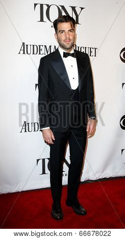 NEW YORK-JUNE 8: Actor Zachary Quinto attends American Theatre Wing's 68th Annual Tony Awards at Radio City Music Hall on June 8, 2014 in New York City.