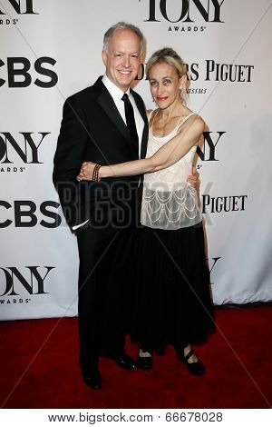 NEW YORK-JUNE 8: Actors Reed Birney (L) and Constance Shulman attend American Theatre Wing's 68th Annual Tony Awards at Radio City Music Hall on June 8, 2014 in New York City.