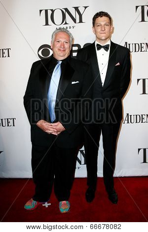 NEW YORK-JUNE 8: Actors Harvey Fierstein (L) and Gabriel Ebert attend American Theatre Wing's 68th Annual Tony Awards at Radio City Music Hall on June 8, 2014 in New York City.