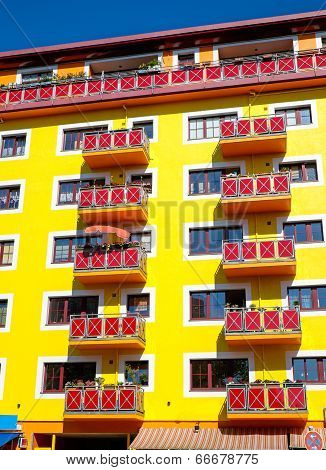 Yellow apartment house facade