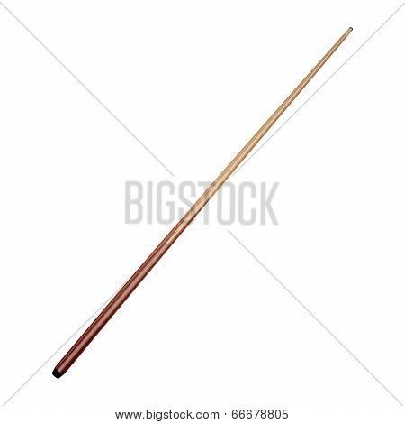 Billiard Cue Isolated On White Background. Vector Illustration