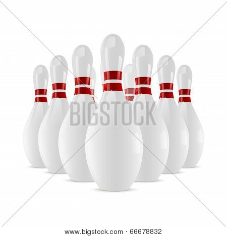 Shiny Bowling Skittles Isolated On White Background. Vector Illustration