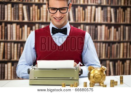 Vintage accountant with typewriter, money and piggy bank