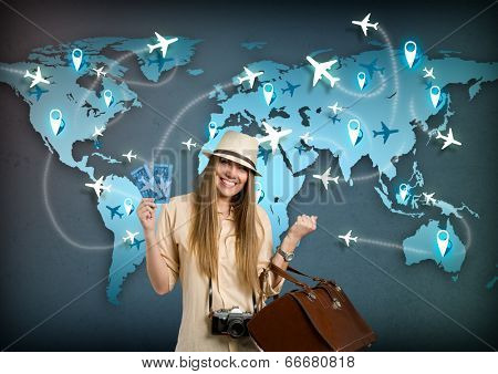 happy tourist with ticket for travel around the world