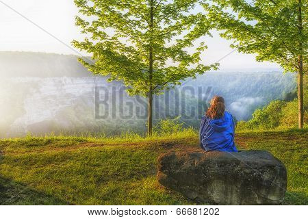 Watching The Early Morning Sunrise At Letchworth State Park