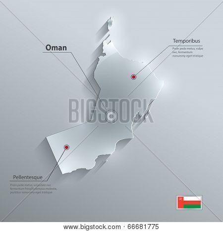 Oman map flag glass card paper 3D vector