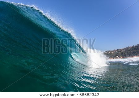 Ocean Blue Wave Swim Crashing Closeup