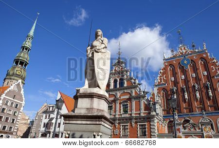 House Of The Blackheads, St. Peter's Church And Saint Roland Statue In Riga