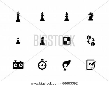 Chess icons on white background.