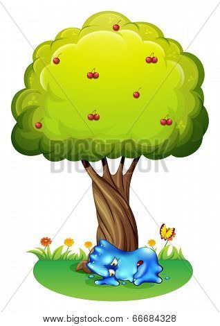 Illustration of a tired monster under the tree on a white background