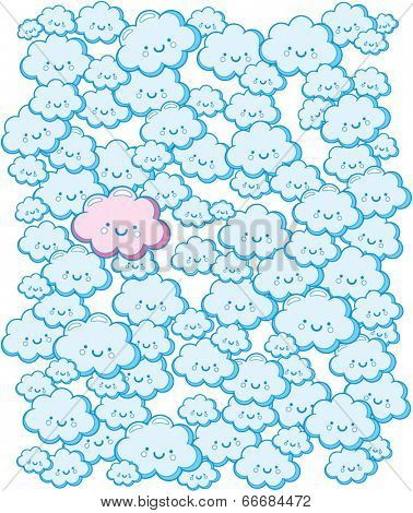 Cute Blue Clouds - Vector Pattern