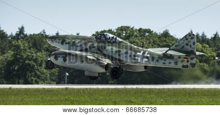 BERLIN, GERMANY - MAY 21, 2014: The aircraft Messerschmitt Me 262 (Germany) demonstration during the International Aerospace Exhibition ILA Berlin Air Show-2014.