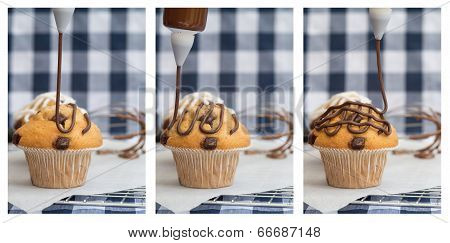 Triptych Of Icing Frosting Being Put Onto Home Made Chocolate Chip Muffins