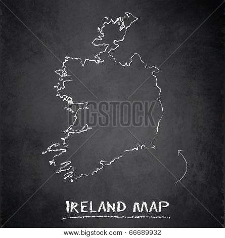 Ireland map blackboard chalkboard vector