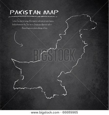 Pakistan map blackboard chalkboard vector