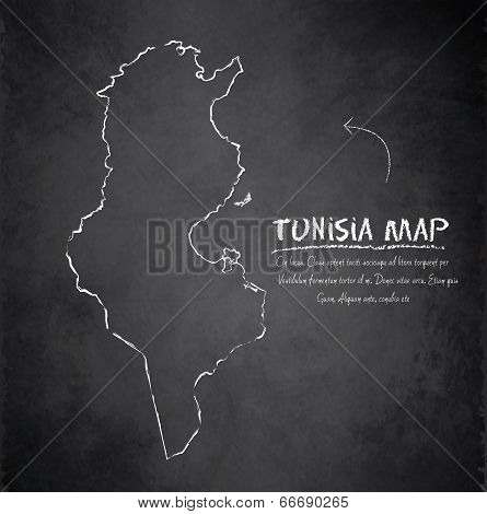 Tunisia map blackboard chalkboard vector