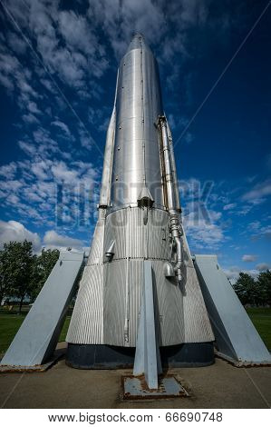 Looking Up At Tall, Steel Atlas Moon Rocket