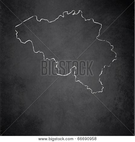 Belgium map blackboard chalkboard raster