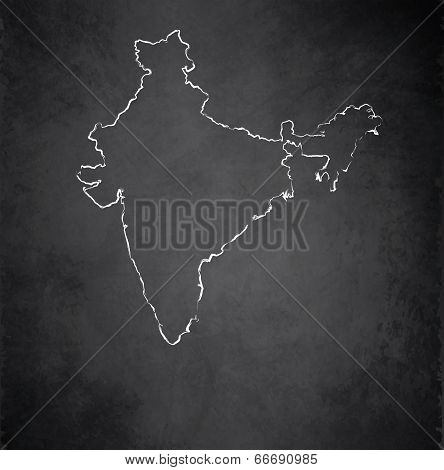 India map blackboard chalkboard raster