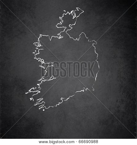 Ireland map blackboard chalkboard raster