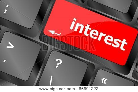 Interest - Business Concept. Button On Modern Computer Keyboard