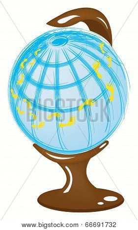 Globe With Footprints