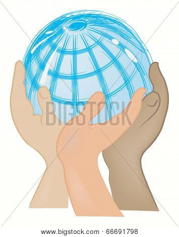 Globe Supported With The Hands