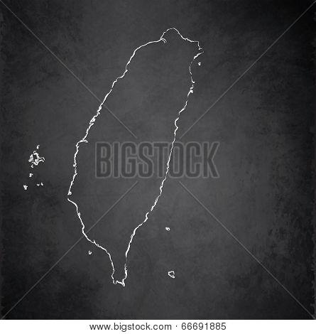Taiwan map blackboard chalkboard raster
