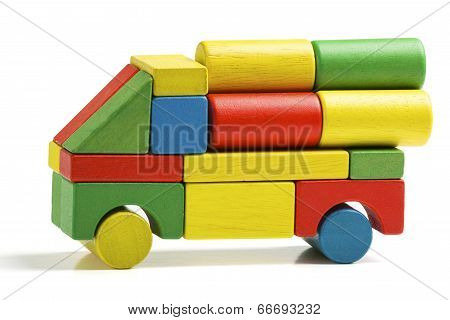 Car Toy Blocks, Multicolor Truck Wooden Freight Transportation, Cargo Delivery, Isolated White Backg