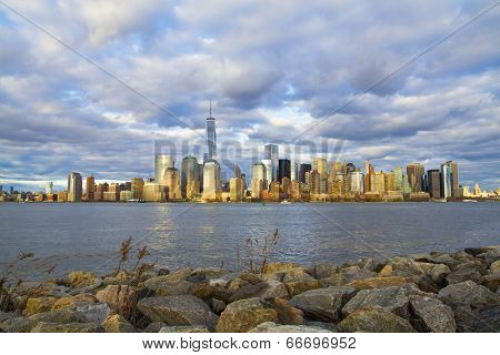 World Trade Center Freedom Tower In Lower Manhattan New York City Skyline With American Flag
