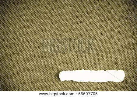 Piece Paper Blank Copy Space On Brownish Green Fabric Textile