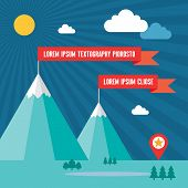 image of snow capped mountains  - Snow Mountains with Red Flags in Flat Design Style for presentation - JPG
