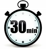 stock photo of stopwatch  - Vector illustration of thirty minutes stopwatch icon - JPG